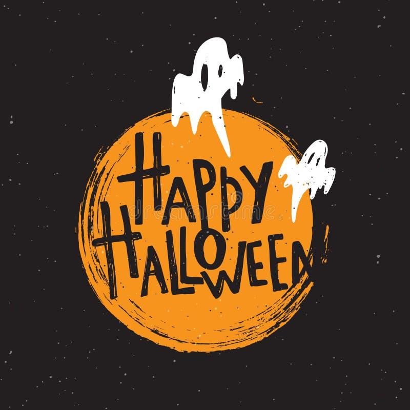 Gelukkig Halloween Hand van letters voorziende affiche Vector illustratie royalty-vrije illustratie