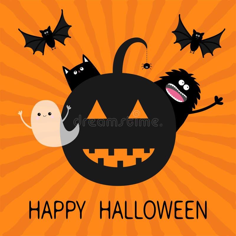 Gelukkig Halloween Het glimlachende silhouet van het pompoengezicht royalty-vrije illustratie
