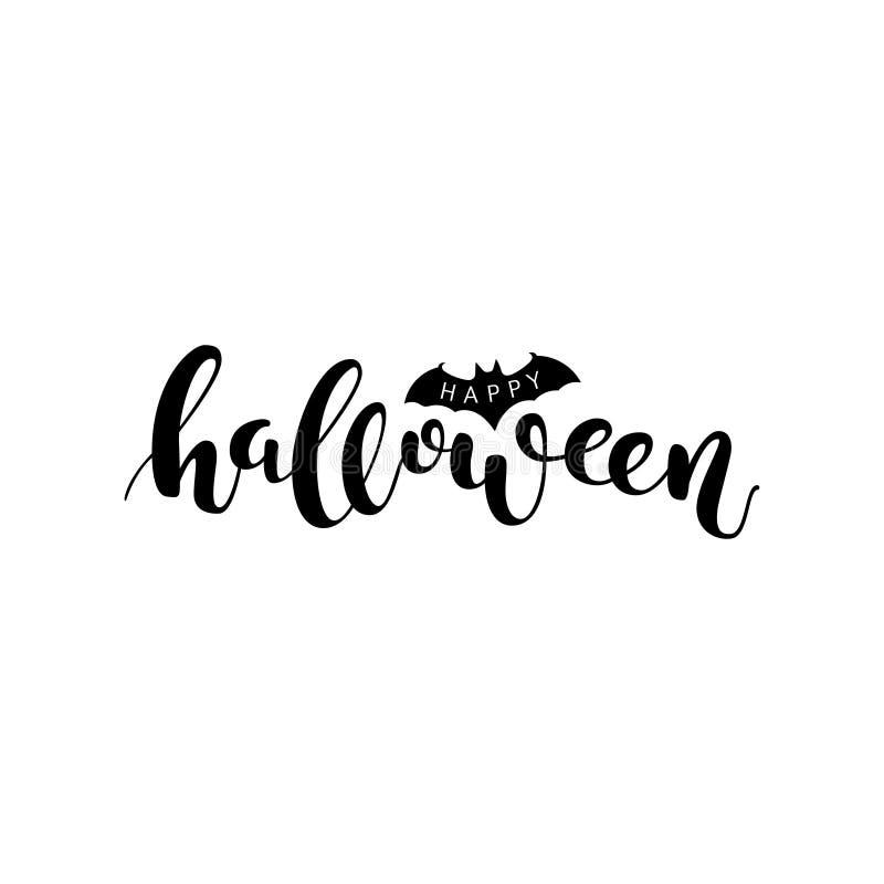 Gelukkig Halloween Het zwarte vector van letters voorzien vector illustratie