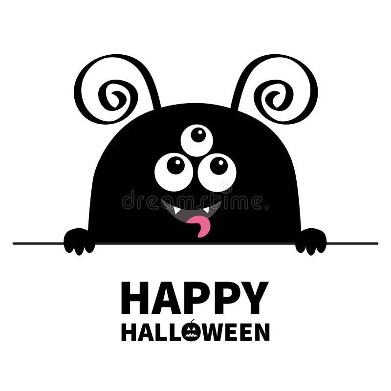 Gelukkig Halloween Hoofdpictogram van het monster het enge gezicht De holdingslijn van de handenpoot Hoornen, hoektand, tong Het  vector illustratie