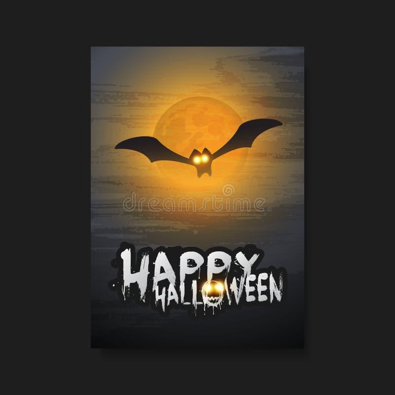 Gelukkig Halloween-Kaart, Vlieger of Dekkingsmalplaatje - Vliegende Knuppel met Gloeiende Ogen vector illustratie