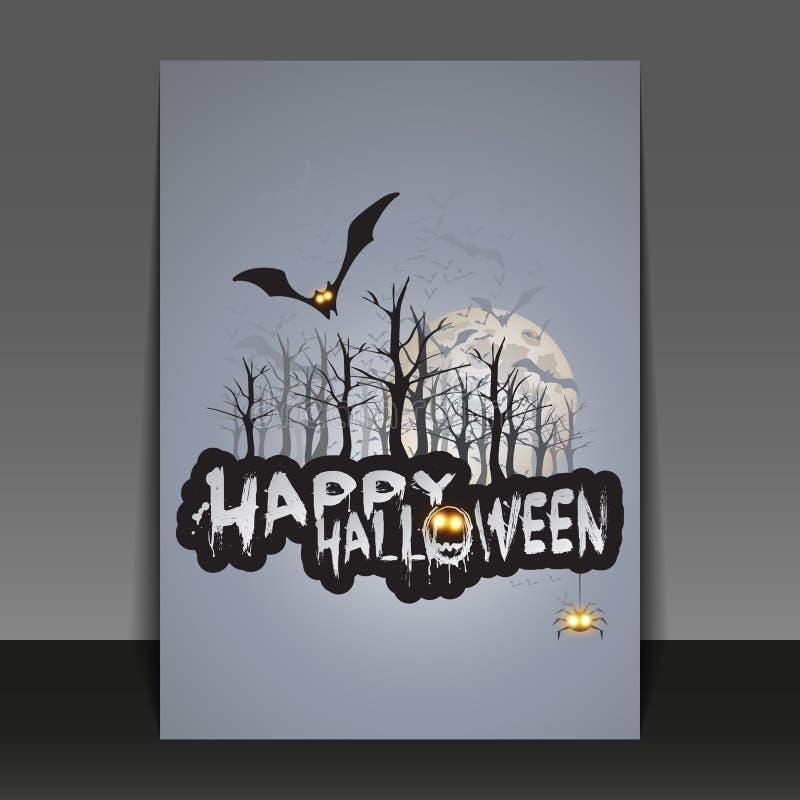 Gelukkig Halloween-Kaart, Vlieger of Dekkingsmalplaatje - Vliegende Knuppels over Autumn Woods en Diverse Griezelige Schepselen m royalty-vrije illustratie