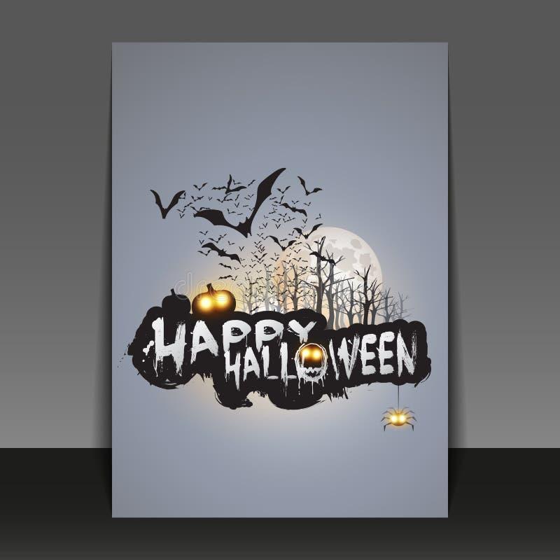 Gelukkig Halloween-Kaart, Vlieger of Dekkingsmalplaatje - Vliegende Knuppels over Autumn Woods en Diverse Griezelige Schepselen m stock illustratie