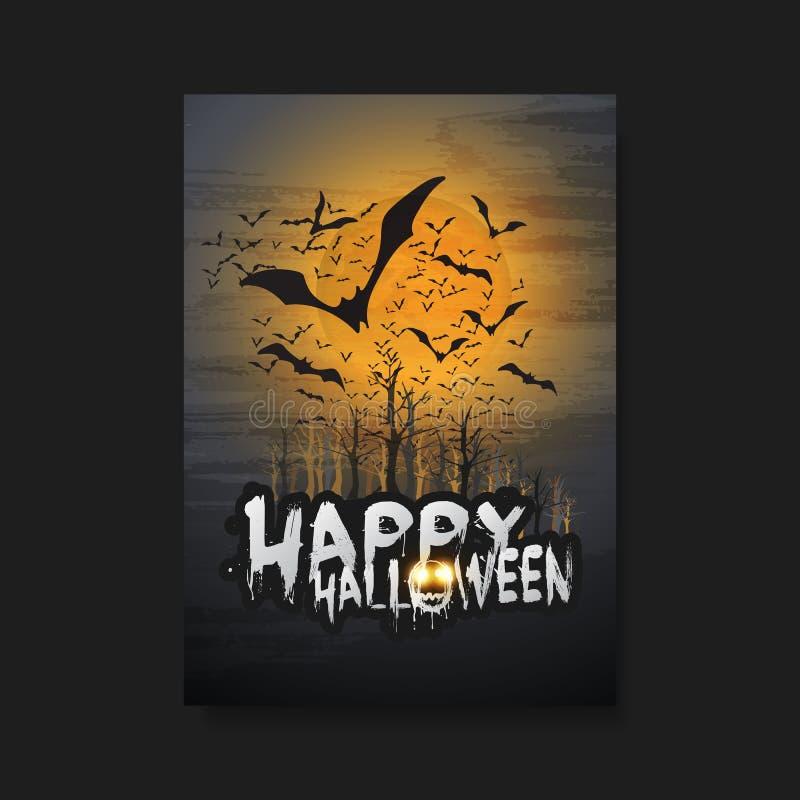 Gelukkig Halloween-Kaart, Vlieger of Dekkingsmalplaatje - Vliegende Knuppels over de Begraafplaats in de Mist royalty-vrije illustratie