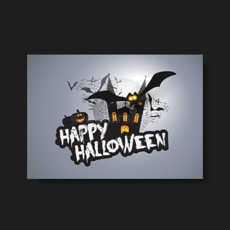 Gelukkig Halloween-Kaart, Vlieger of Dekkingsmalplaatje - Vliegende Knuppels over een Donker Kasteel royalty-vrije illustratie