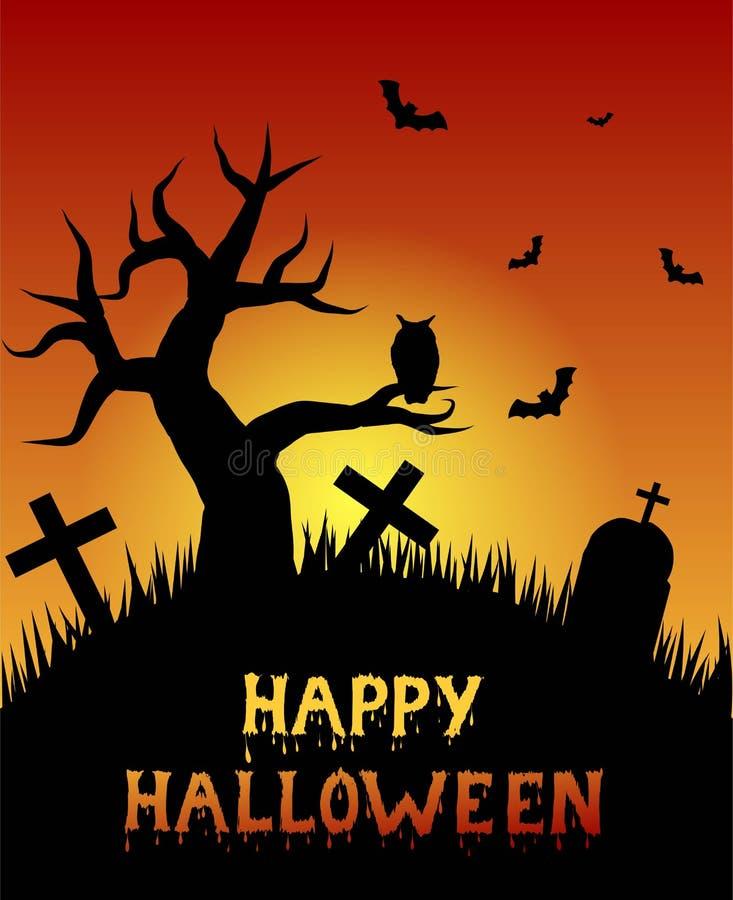 Gelukkig Halloween-Kerkhof met Eenzame Boom en Owl Silhouette in Zonsondergang vector illustratie