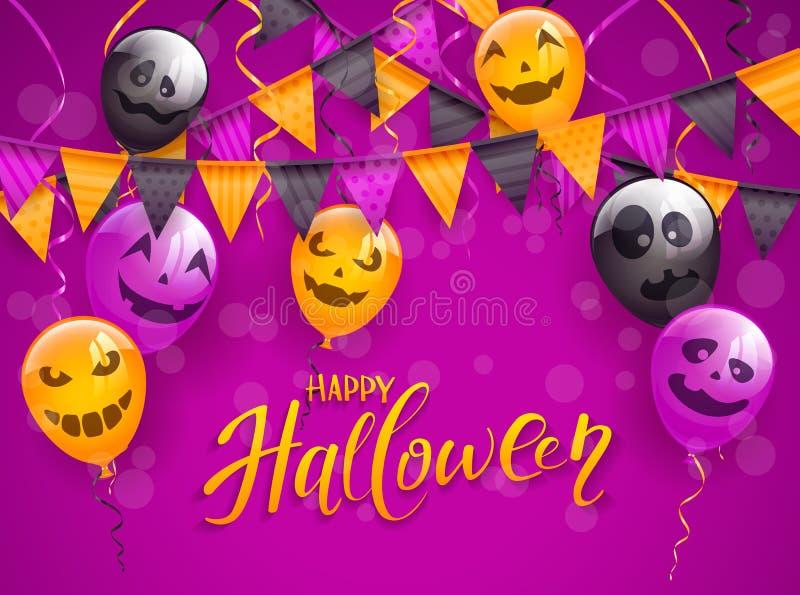Gelukkig Halloween met enge ballons en wimpels op purpere backg vector illustratie