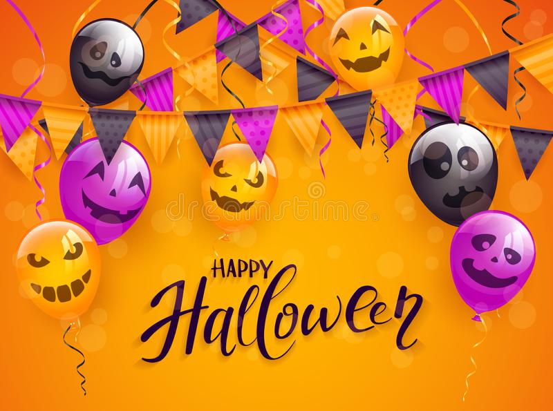 Gelukkig Halloween met enge ballons en wimpels op sinaasappel backg vector illustratie