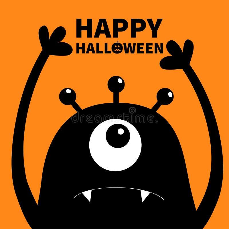 Gelukkig Halloween Monster hoofdsilhouet Één oog, tanden, hoektand, handen omhoog Zwart Grappig Leuk beeldverhaalkarakter Babyinz royalty-vrije illustratie