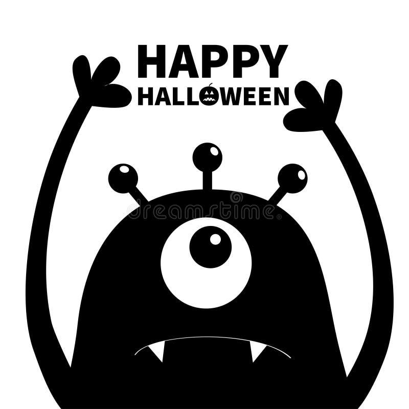 Gelukkig Halloween Monster hoofdsilhouet Één oog, tanden, hoektand, handen omhoog Zwart Grappig Leuk beeldverhaalkarakter Babyinz stock illustratie