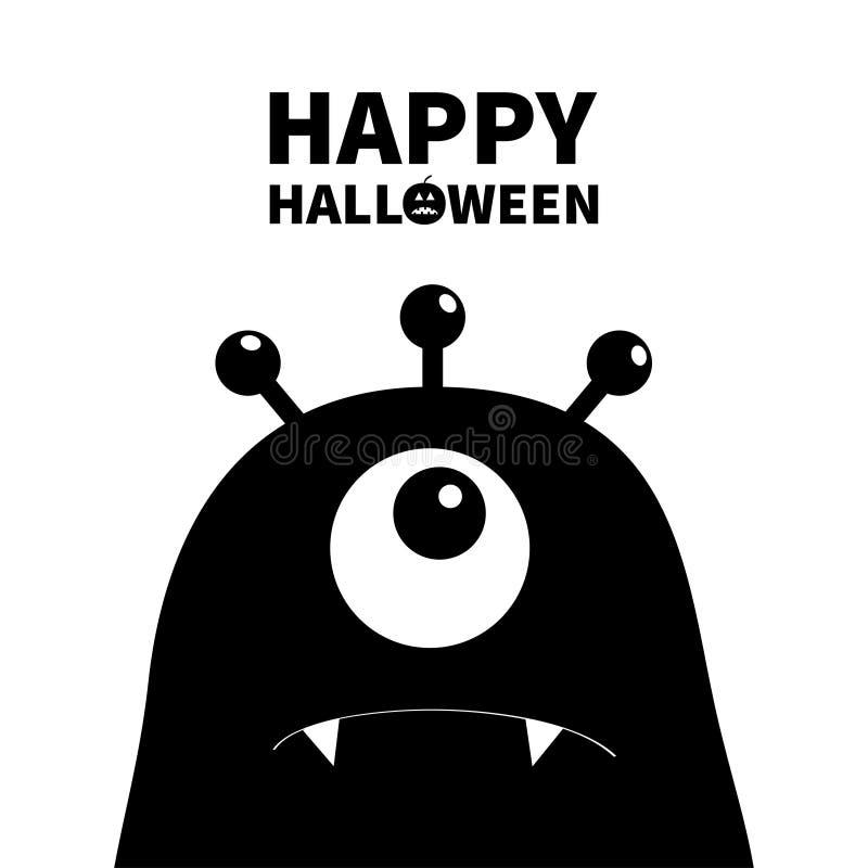 Gelukkig Halloween Monster hoofdsilhouet Één oog, tanden, hoektand Zwart Grappig Leuk beeldverhaalkarakter Babyinzameling Vlak On vector illustratie