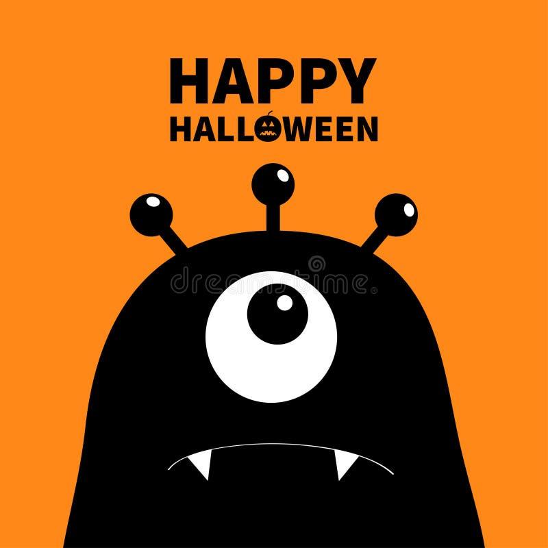 Gelukkig Halloween Monster hoofdsilhouet Één oog, tanden, hoektand Zwart Grappig Leuk beeldverhaalkarakter Babyinzameling Vlak On stock illustratie