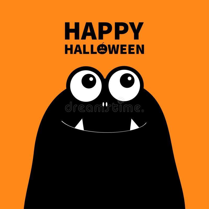 Gelukkig Halloween Monster hoofdsilhouet Twee ogen, tanden, hoektand Zwart Grappig Leuk beeldverhaalkarakter Babyinzameling Vlak  royalty-vrije illustratie