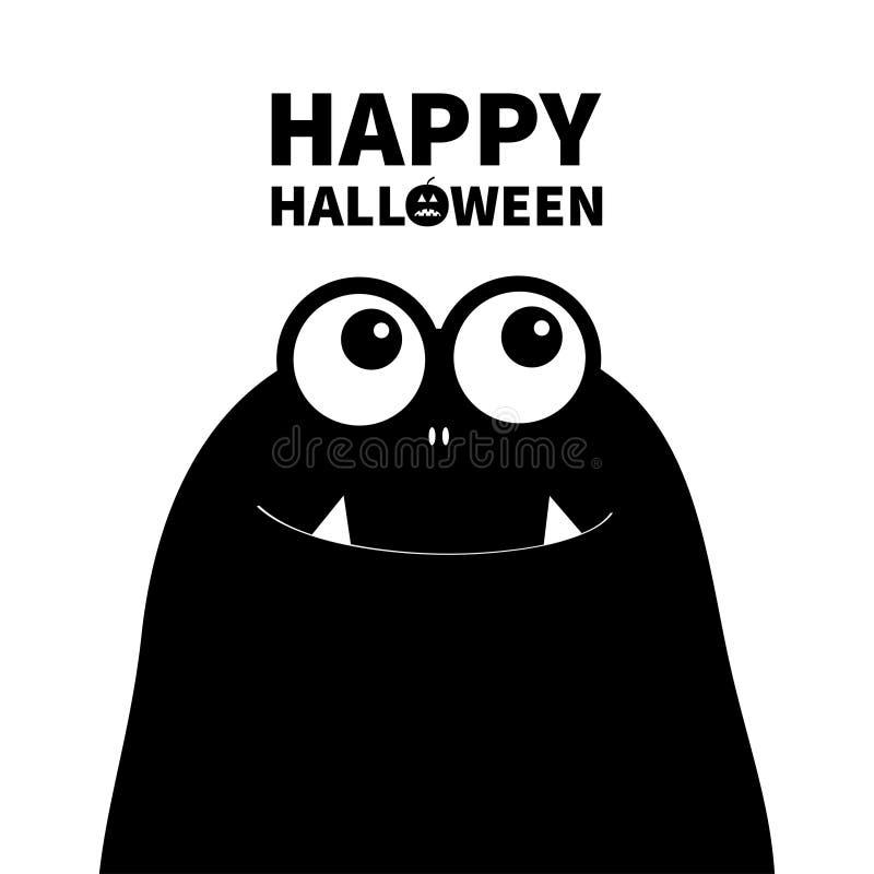 Gelukkig Halloween Monster hoofdsilhouet Twee ogen, tanden, hoektand Zwart Grappig Leuk beeldverhaalkarakter Babyinzameling Vlak  stock illustratie