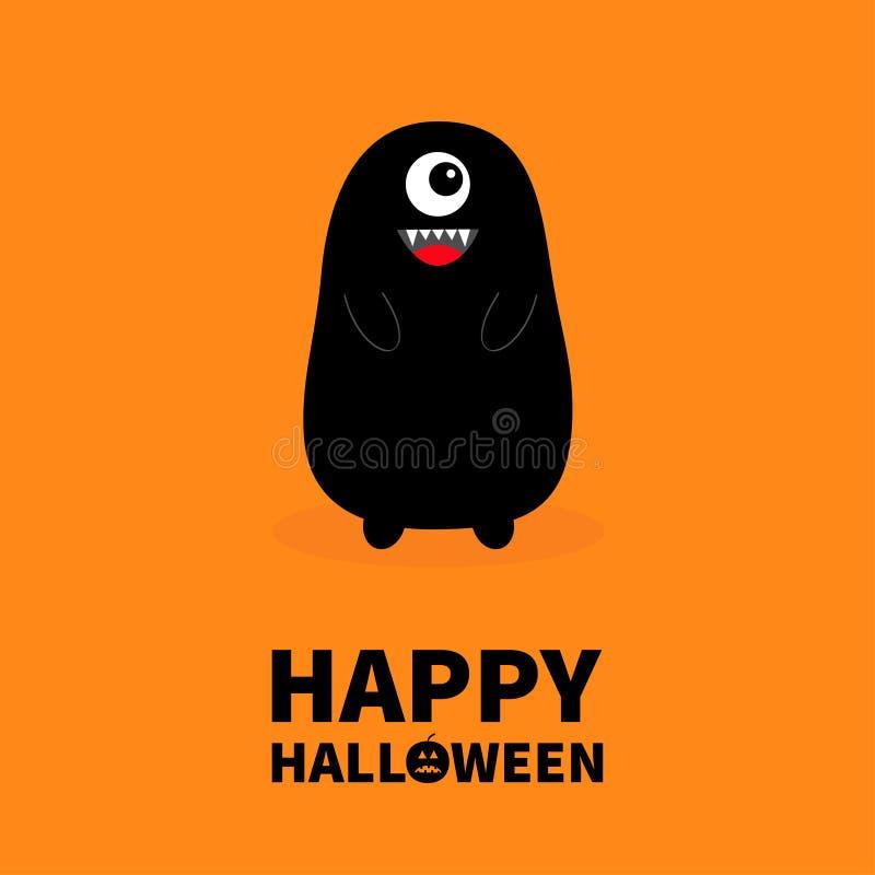Gelukkig Halloween Monster zwart silhouet Hoektandtand Open mond Één oog, tanden, tong, handen Grappige Leuke beeldverhaalbaby ch vector illustratie