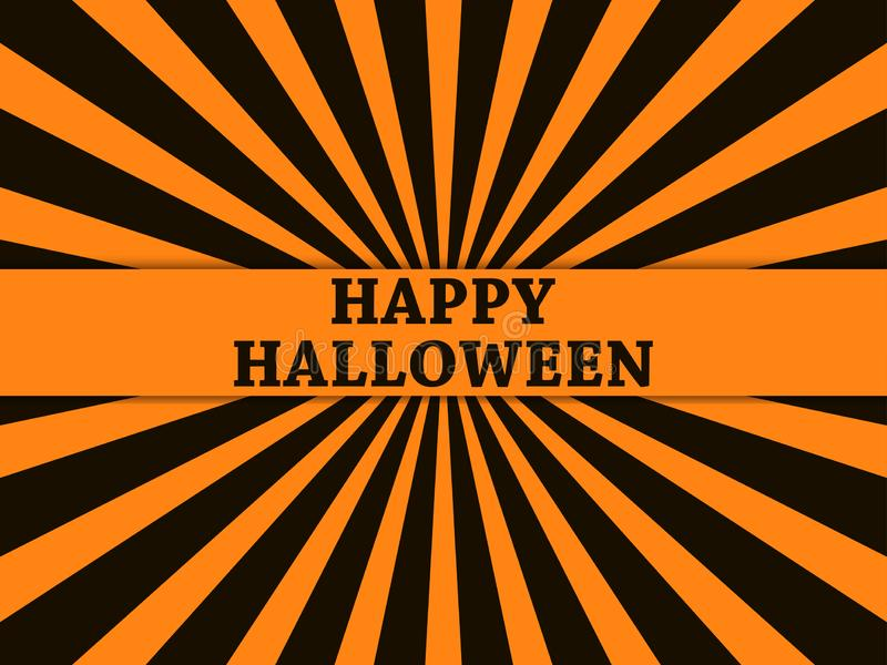 Gelukkig Halloween 31 Oktober, de kaart van de vakantiegroet met stralen op achtergrond Vector royalty-vrije illustratie