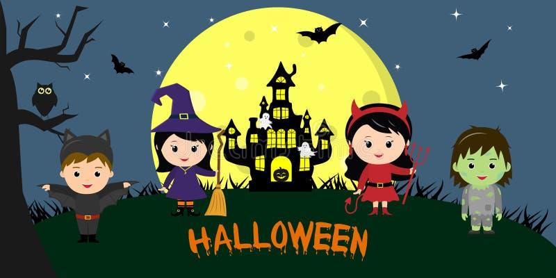 Gelukkig Halloween Halloween-partijkinderen van karakters in verschillende kostuums tegen de achtergrond van de volle maan, bij n royalty-vrije illustratie