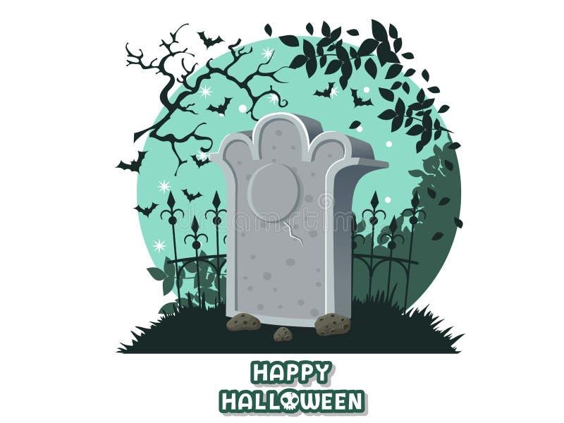 Gelukkig Halloween pictogram met het beeld van grafstenen Het symbool van de grafzerkbegraafplaats Groetkaart, partijuitnodiging  stock illustratie