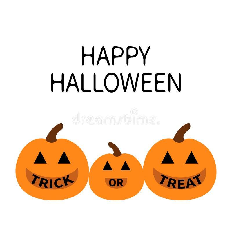 Gelukkig Halloween Pompoenfamilie De baby van de moedervader De truc of behandelt tekst Grappig griezelig het glimlachen gezicht  vector illustratie