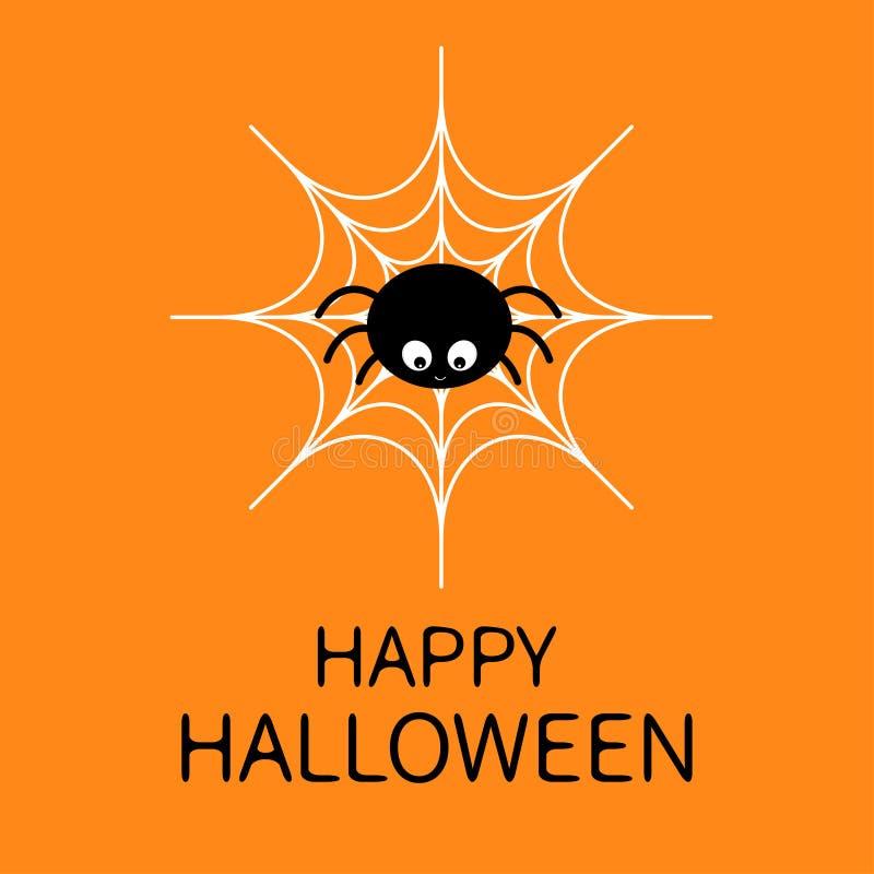 Gelukkig Halloween Spin op het Web Leuk het insectkarakter van de beeldverhaalbaby Spinnewebwit Vlak Ontwerp Oranje Achtergrond D vector illustratie
