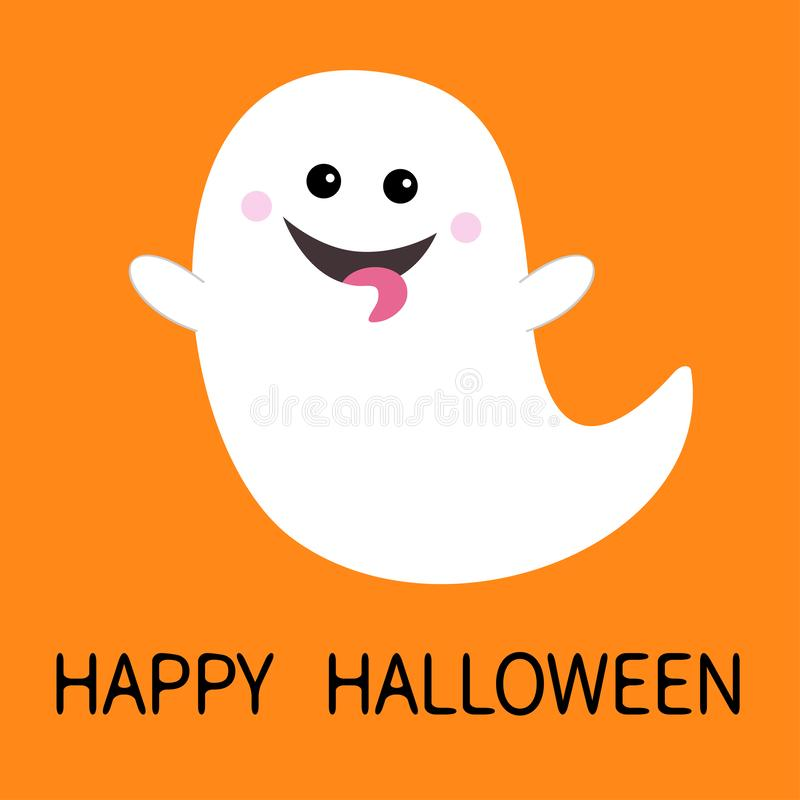 Gelukkig Halloween Vliegende spookgeest die tong tonen boo Enge witte spoken Leuk beeldverhaal griezelig karakter Het glimlachen  stock illustratie