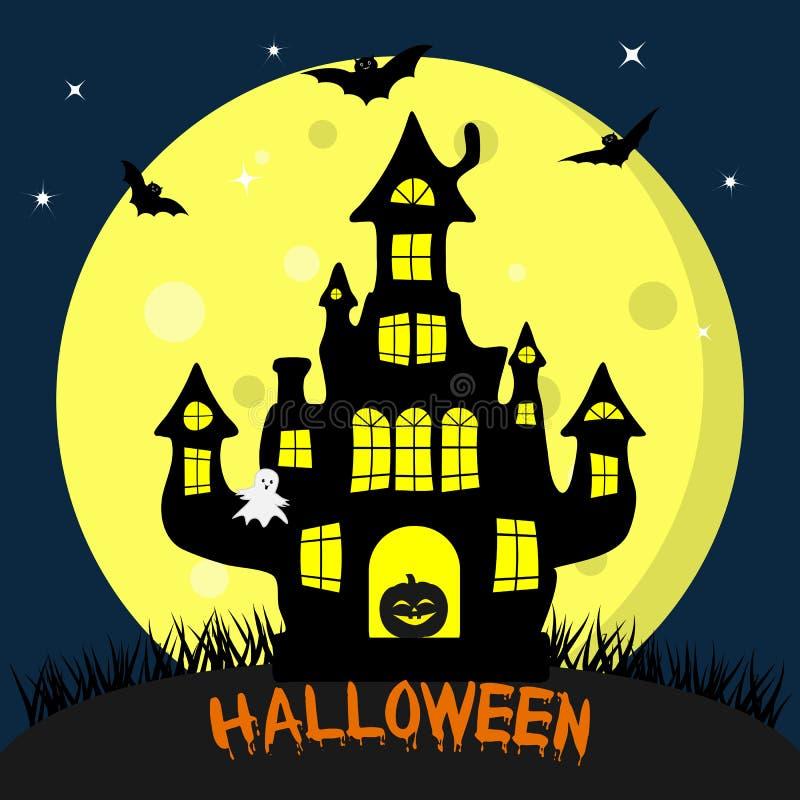Gelukkig Halloween Zwart heksens kasteel, in de deuropening met pompoen Volle maan bij nacht, knuppels, spoken en sterren De herf stock illustratie