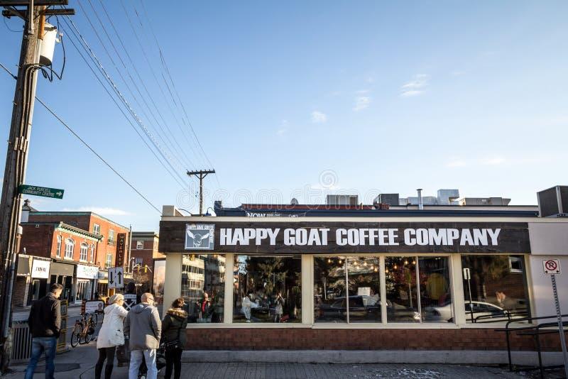 Gelukkig het Bedrijfembleem van de Geitkoffie op hun hoofdwinkel en koffiehuis in Ottawa stock afbeeldingen