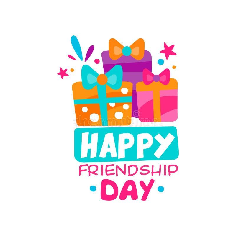 Gelukkig het embleemmalplaatje van de vriendschapsdag Drie kleurrijke giftdozen met bogen Creatief vectorontwerp voor herinnering stock illustratie