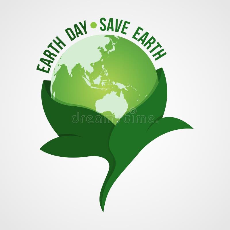 Gelukkig het embleemontwerp van de Aardedag Sparen aardeembleem Het symbool van de aardebol in wordt verpakt doorbladert, geïsole royalty-vrije illustratie