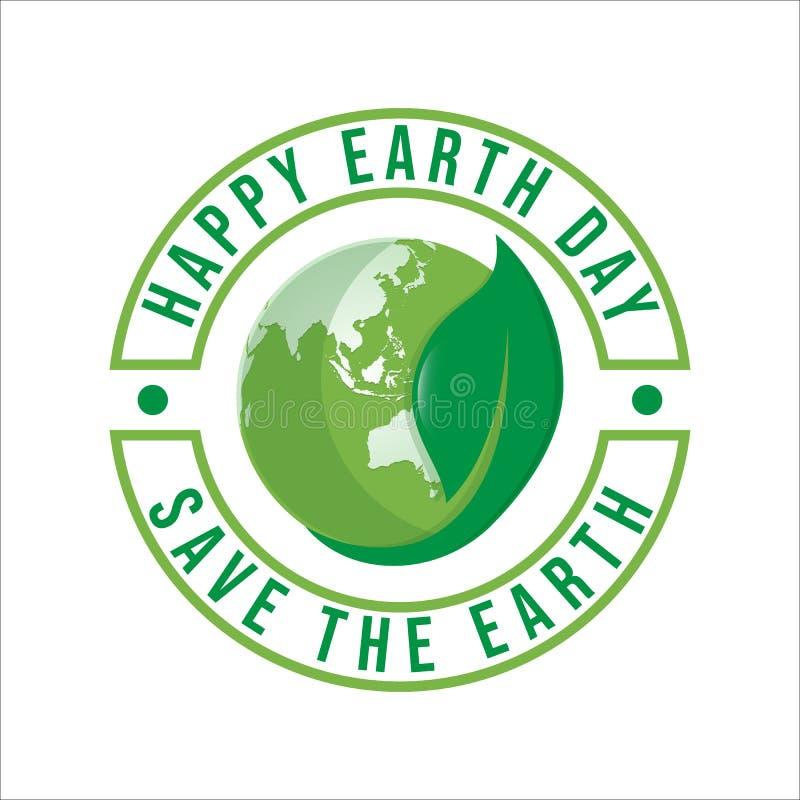 Gelukkig het embleemontwerp van de Aardedag Sparen aardeembleem royalty-vrije illustratie