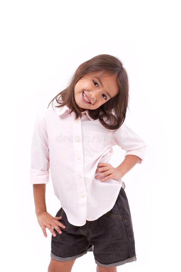 Gelukkig, het glimlachen jonge meisje status royalty-vrije stock afbeelding
