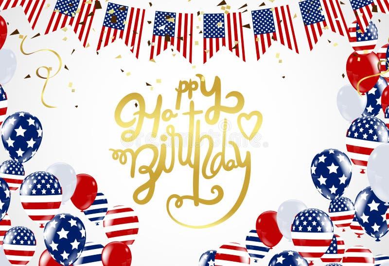 Gelukkig het van letters voorzien van verjaardagsamerika Hand getrokken uitnodigingsontwerp c royalty-vrije illustratie