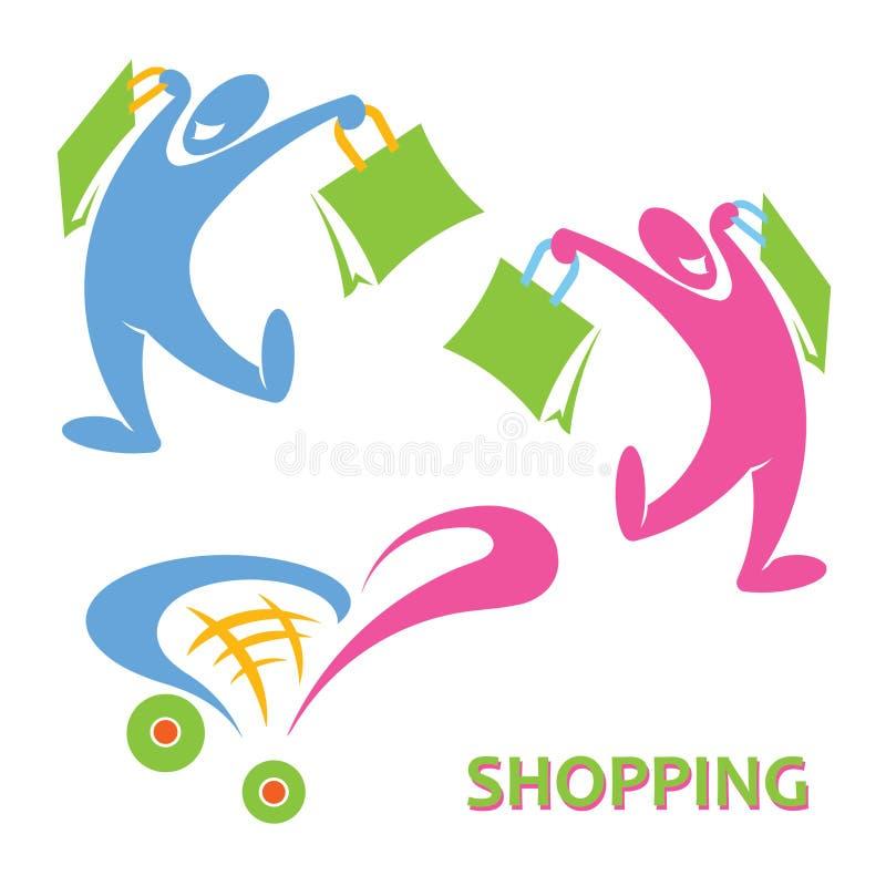 Gelukkig het winkelen symbool stock illustratie