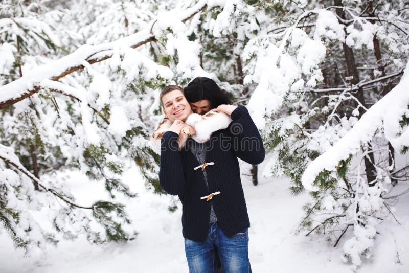 Gelukkig houdend van paar die in sneeuw de winter bos Openlucht seizoengebonden activiteiten lopen De levensstijl vangt stock afbeeldingen