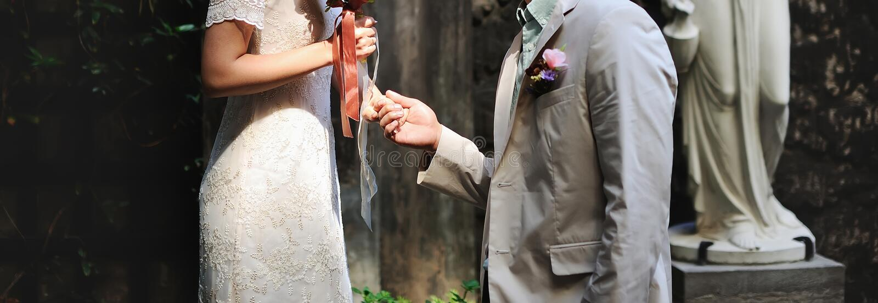 Gelukkig huwelijk, bruid en bruidegom samen stock foto's