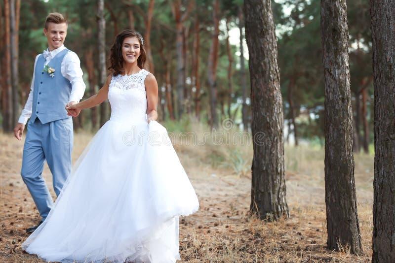 Gelukkig huwelijkspaar die in bos lopen royalty-vrije stock fotografie