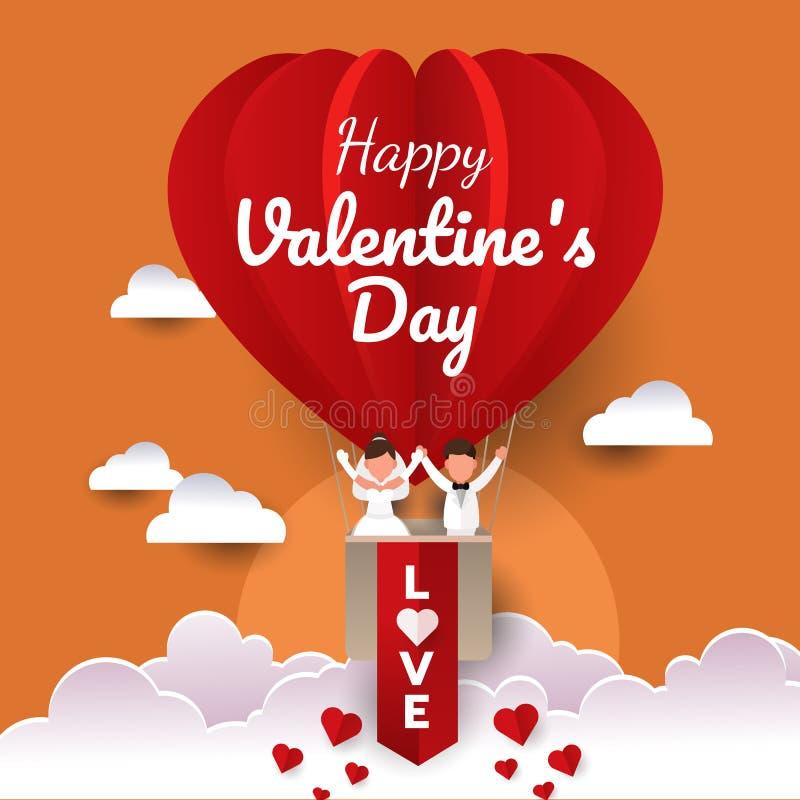 Gelukkig huwelijkspaar in een hete luchtballon in de hemel Tijd aan Viering van valentine'sdag Vlakke vectorillustratie royalty-vrije illustratie