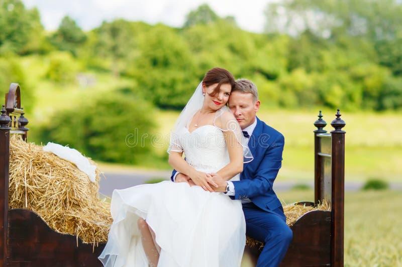 Gelukkig huwelijkspaar op tarwegebied stock foto's
