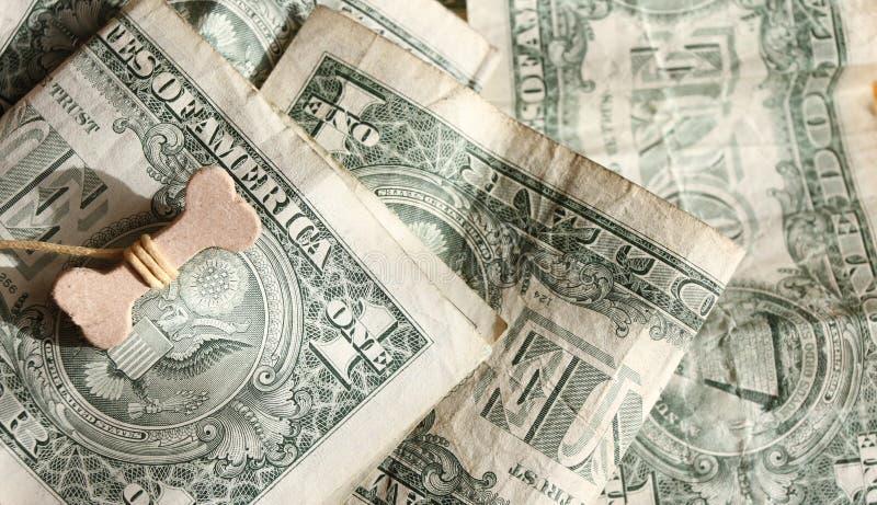 Gelukkig jaar van het hond 2018 concept Been op Amerikaanse dollars De dollarsachtergrond van de V Welvaart, geluk en succes stock fotografie