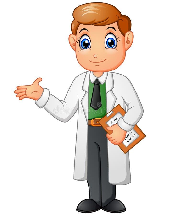 Gelukkig jong artsenbeeldverhaal dat op witte achtergrond wordt geïsoleerd royalty-vrije illustratie