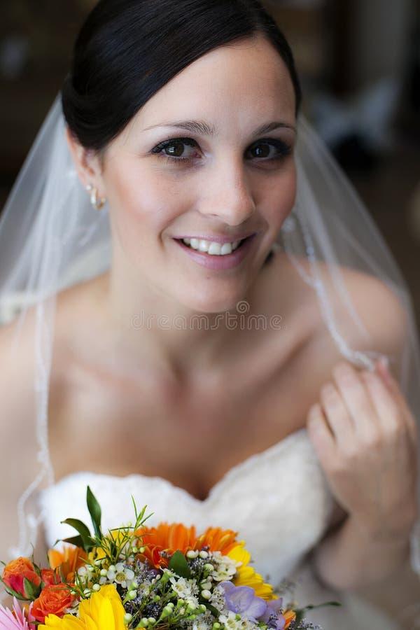Gelukkig jong bruidgezicht stock foto