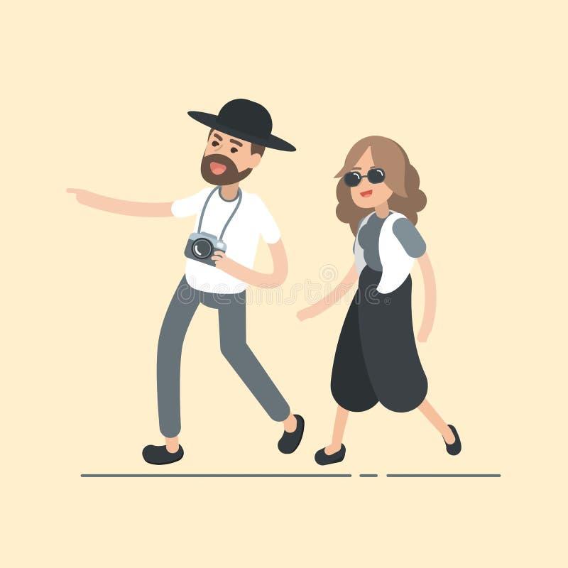 Gelukkig jong hipsterpaar op vakantie, het concept van reismensen, de Vectorillustratie van het karakterontwerp vector illustratie