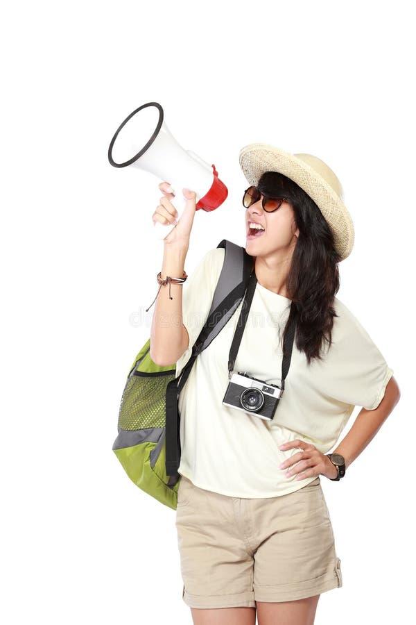 Gelukkig jong meisje dat op vakantie gaat royalty-vrije stock afbeeldingen