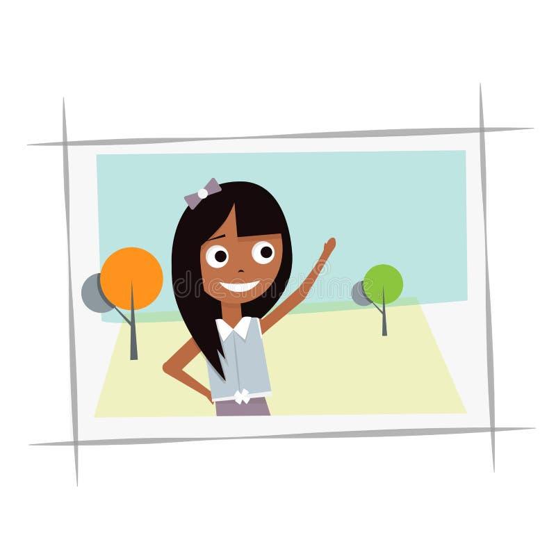 Gelukkig jong meisje in de foto Vectorillustratie op een witte achtergrond stock illustratie