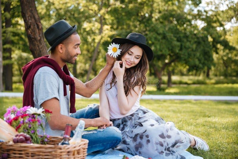 Gelukkig jong paar die en picknick in park ontspannen hebben stock fotografie