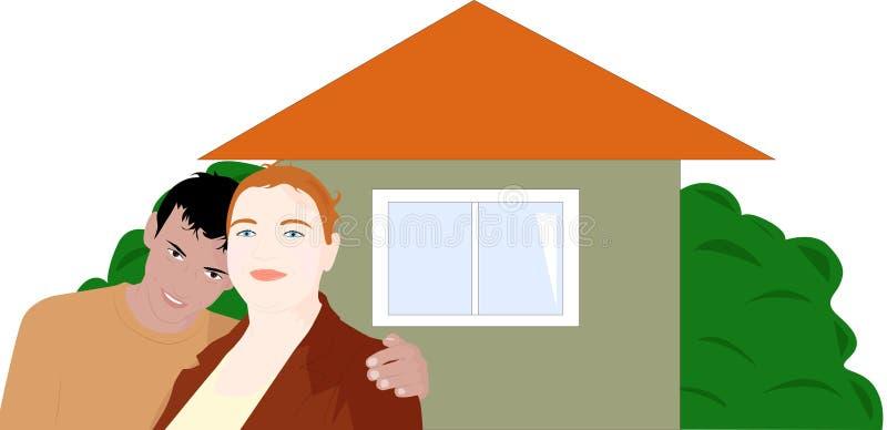 Paar op de achtergrond van uw eigen huis stock illustratie