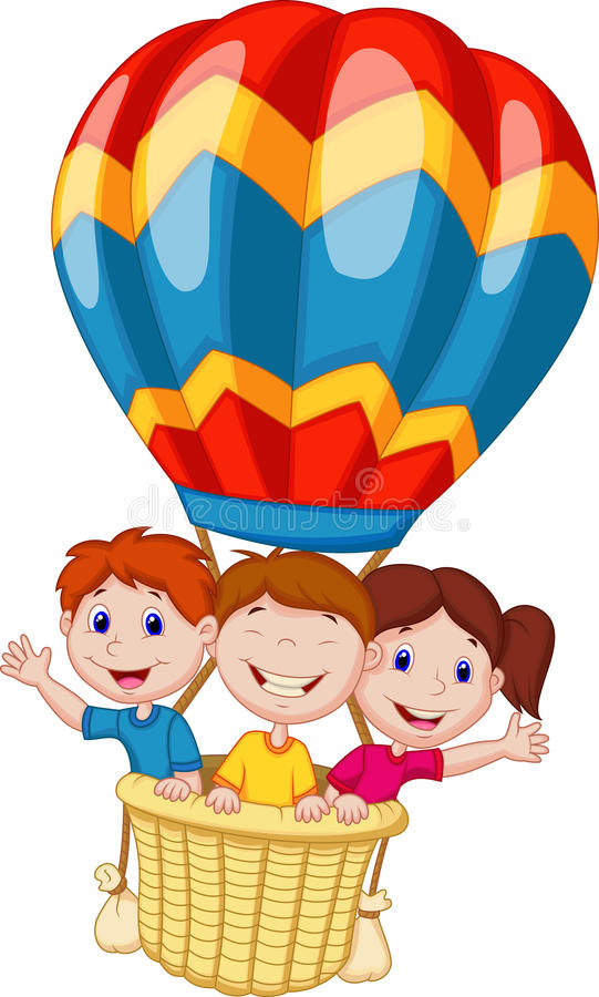 Gelukkig jonge geitjesbeeldverhaal die een hete luchtballon berijden royalty-vrije illustratie