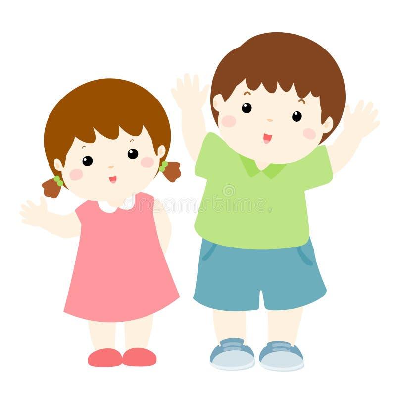 Gelukkig jongen en meisjesbeeldverhaalkarakter stock illustratie