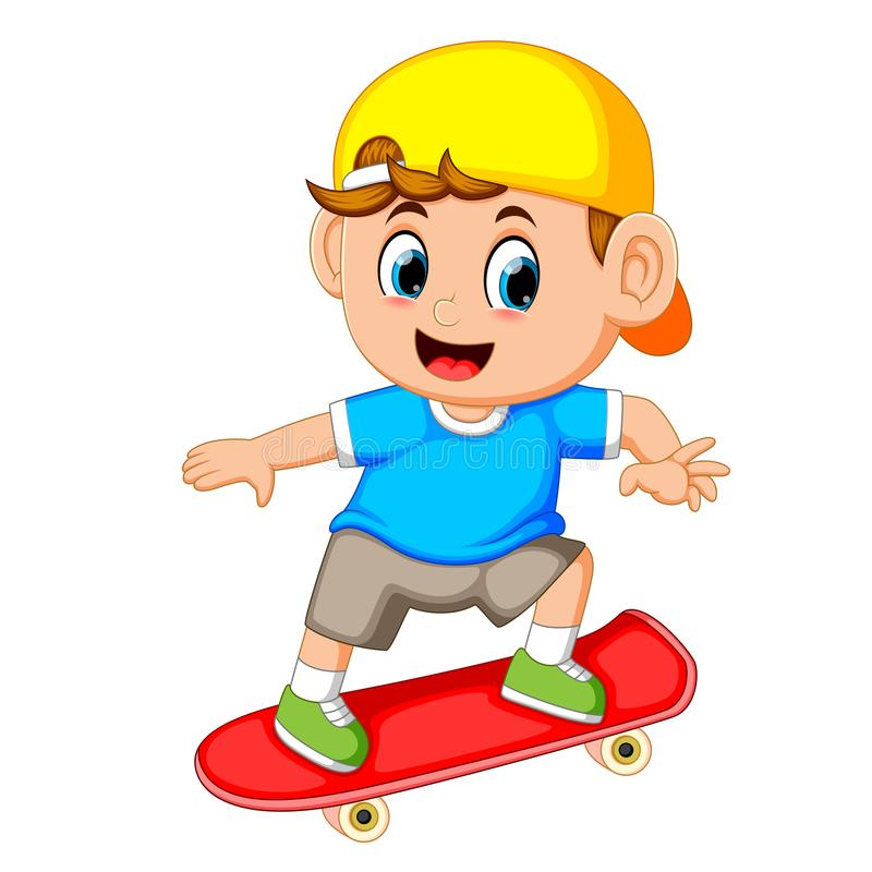 Gelukkig jongen het spelen skateboard royalty-vrije illustratie