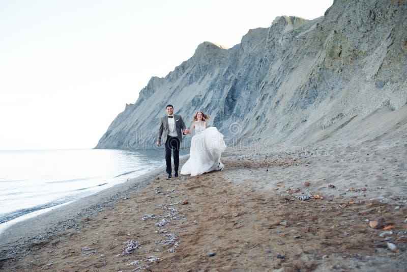 Gelukkig jonggehuwdepaar Mooie bruid en bruidegom in een kostuum royalty-vrije stock afbeelding